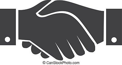 stretta di mano, illustrazione, fondo., vettore, nero, bianco, icona