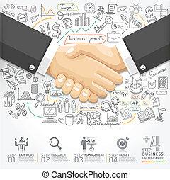 stretta di mano, infographics., affari