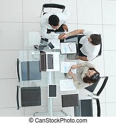 stretta di mano, lavorativo, persone affari, cima, vista., riunione