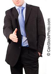 stretta di mano, offerta, uomo affari