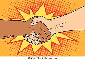 stretta di mano, persone, africano, nero, bianco, caucasico
