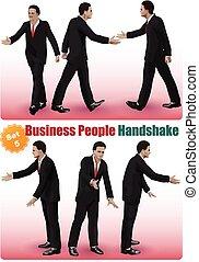 stretta di mano, set, persone affari, 5, maschio