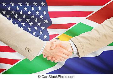stretta di mano, unito, africa, -, stati, uomini affari, sud