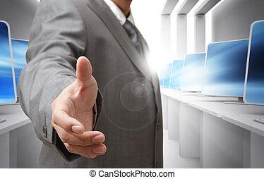 stretta mano, offerte, affari, uomo