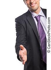 stretta mano sorridente, offerta, uomo affari