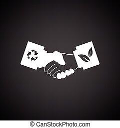 strette mano, ecologico, icona