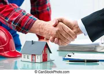 strette mano, secondo, contratto, firma