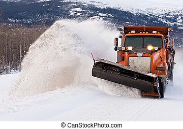 streufahrzeug, lichtung, straße, in, winter, sturm,...