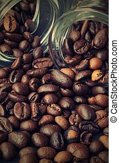 strewn grains of coffee - Figure strewn coffee from the...
