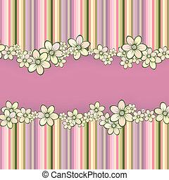 stribet, blomster, hilsen card