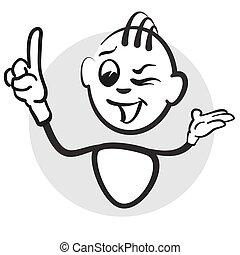 Strichmännchen Serie Emotionen - Fingerzeig oben