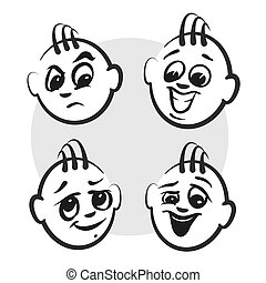 Strichmännchen Serie Emotionen - Jungs Gesichter