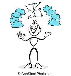 Strichmännchen Serie Emotionen - Netzwerk Cloud