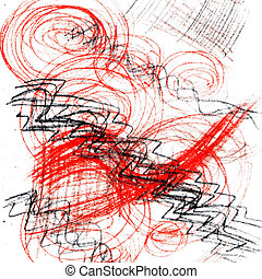 strick and line red pencil abstract painting texture