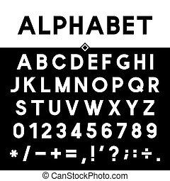 strict, épais, noir, alphabet