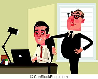 Strict boss businessman watching scared employees office...