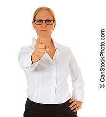 Strict woman pointing with finger. All on white background.
