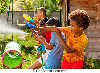 strid, gevär, handling, lek, lurar, vatten, många