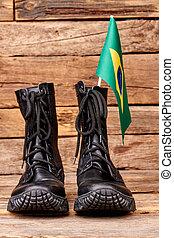 strid, stövel, med, flagga, av, brazil.