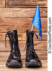 strid, stövel, med, flagga, av, europe, union.