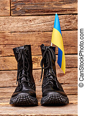 strid, stövel, med, flagga, av, ukraine.