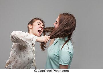 stridande, kvinnor, flickor, två, gräla