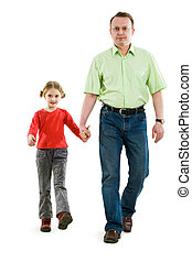 Stride - Handsome man holding his daughter by hand while...