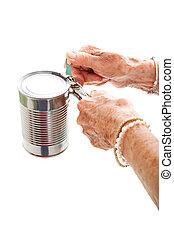 strijd, opener, groenteblik, bejaarden, handen