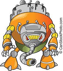 strijder, cyborg, massief, robot