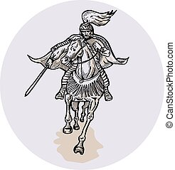strijder, ets, katana, horseback, samurai zwaard