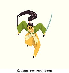 strijder, karakter, japanner, vecht, traditionele , samurai, vector, illustratie, achtergrond, witte , kleren, spotprent, zwaarden