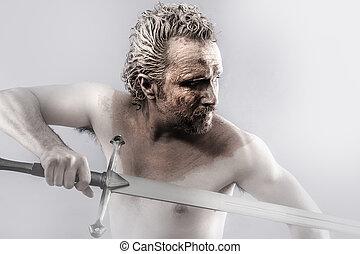 strijder, man, bedekt, in, modder, met, zwaard