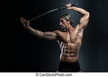 strijder, met, lang, zwaard, op, zwarte achtergrond