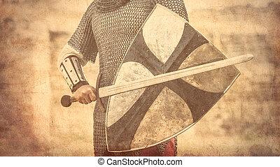 strijder, met, zwaard, en, schild