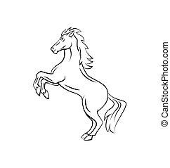 strijder, paarde, vector, illustratie