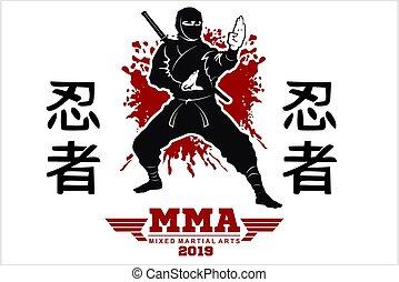 strijder, silhouette, illustration., japanner, fighter., vector, ninja