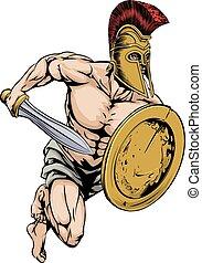 strijder, sporten, gladiator, mascotte
