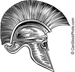 strijder, trojaan, helm, spartan, romein, gladiator