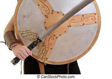 strijder, vasthouden, zwaard, en, schild