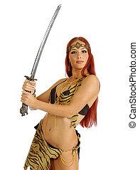 strijder, vrouwenholding, zwaard, in, haar, hand