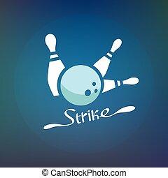 strike., ボーリング・ボール, 印, club.