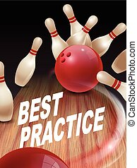 strike bowling 3D illustration, best practice words in the ...