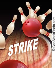 strike bowling 3D illustration, strike words in the middle