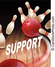 strike bowling 3D illustration, support words in the middle