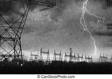 strike., distribution, centrale électrique, éclair