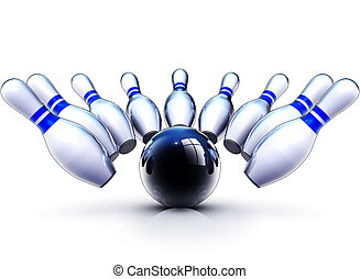 strike - illustration of bowling