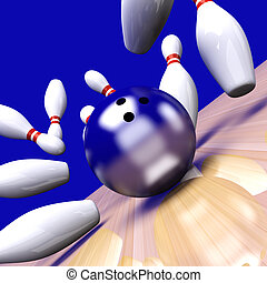 Strike - Playing bowling and hitting them all. 3D rendered...