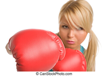 strike - girl with red boxing gloves on a white background