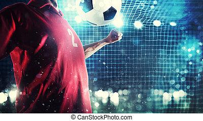 Striker player controls the ball near the football goal