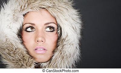 Striking Headshot of a Beautiful Teen in Fur Lined Hood